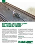 hdpe pipe - helping solve the nations water wastewater crisis